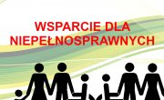Grafika prezentuje hasło wsparcie dla niepełnosprawnych, poprzez działania Powiatu Myślenickiego i Powiatowego Centrum Pomocy Rodzinie w Myślenicach