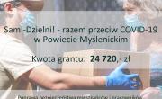Plakat: Sami-Dzielni! - razem przeciw COVID-19 w Powiecie Myślenickim