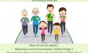 Plakat: Zdrowa Rodzina Powiat Myślenicki - profilaktyka raka płuc w powiecie myślenickim.
