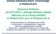Komunikat informujący o zmianie lokalizacji Biura Terenowego ZUS w Myślenicach